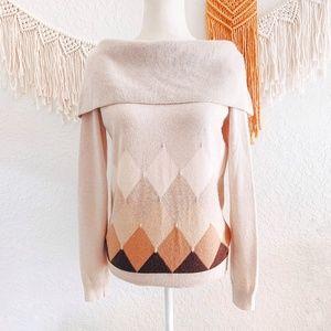 Ballantyne Cashmere Cowl Neck Print Sweater